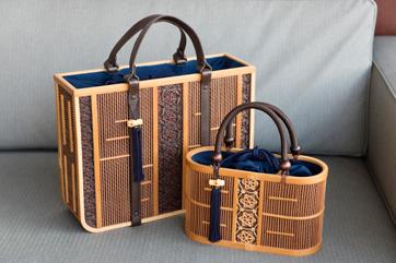 Bamboo Handbag Hangetsu Half Moon Kusuyama